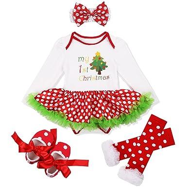 1408152e71e32 TiaoBug 4pcs Bébé Fille Manches Longues Tutu Jupe Barboteuse Tenue Noël  Costume 3-18 Mois