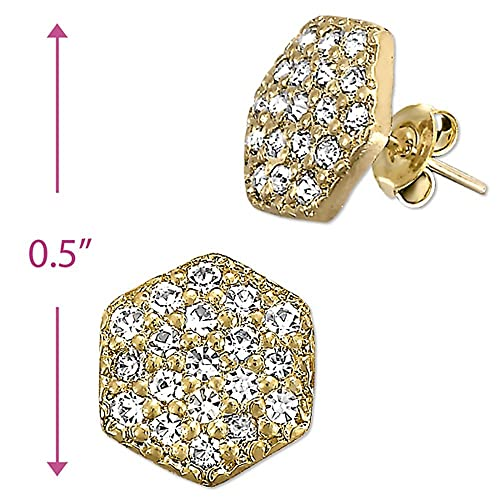 amazon com hectagon cz 14k yellow gold plated stud earrings jewelry