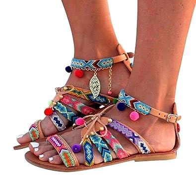 Hibote Femmes Bohême Sandales à Talon Plate Femmes Printemps Été Tongs  Femmes Chaussures de Plage Ballerine d47f9ed36f54