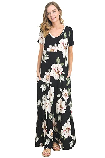 d93bd789b9 Hello MIZ Women s Floral Scoop Neck Long Maternity Maxi Dress - Made in USA  (Small