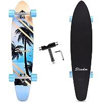 Slendor 42 Inch Longboard Skateboard Complete Cruiser Pintail, Drop Through Deck Skateboardfor Cruising, Carving…