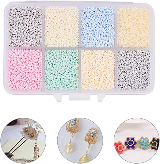 PandaHall Elite About 6000 Pcs 11//0 Glass Seed Beads Opaque Black Round Pony Bead Mini Spacer Beads Diameter 2mm for Jewelry Making
