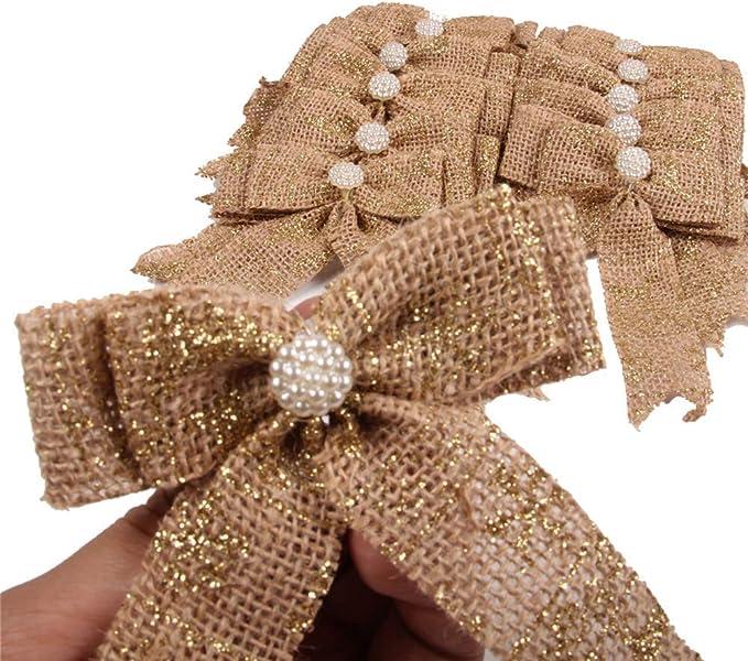 4 Hessian Bows Christmas Gift Wrapping 9 x 12cm Snowflakes Supply Xmas Bows