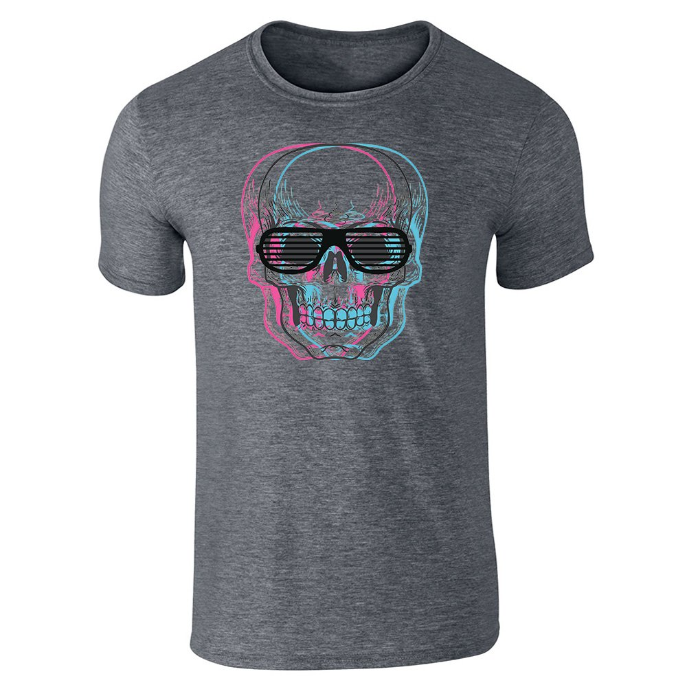 Pop Threads Skull With Shutter Sunglasses Dark Heather Gray 3XL Short Sleeve T-Shirt