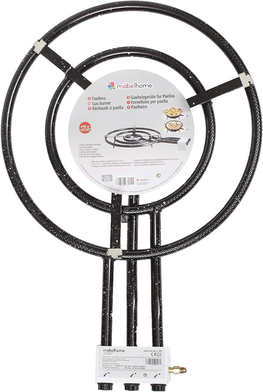 Mabel Home Paella Paella + Quemador y Stands en Las Ruedas + Kit Completo para la Paella hasta un 20 Porciones - 23.65 Pulgadas quemadores de Gas + ...