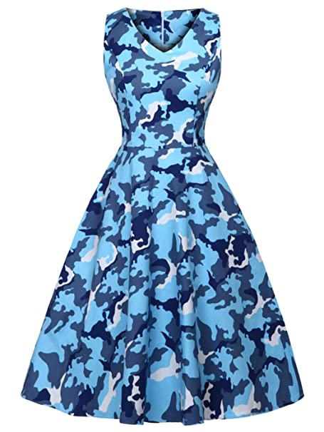 FAIRY COUPLE 1950S Vintage Rockabilly Lunares Vestido de Baile DRT072(XL,Camuflaje Azul)