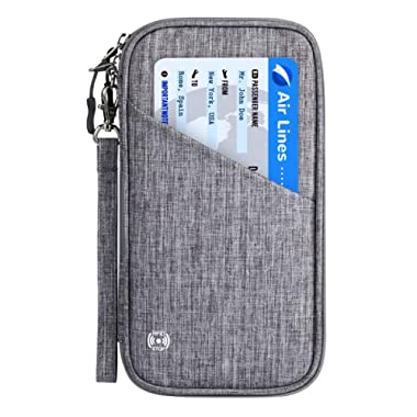 Vemingo Family Passport Holder with Accordion Design RFID - Blocking Travel Wallet Ticket Holder Document Organizer with Zipper for Women Men, Fits 4 Passports