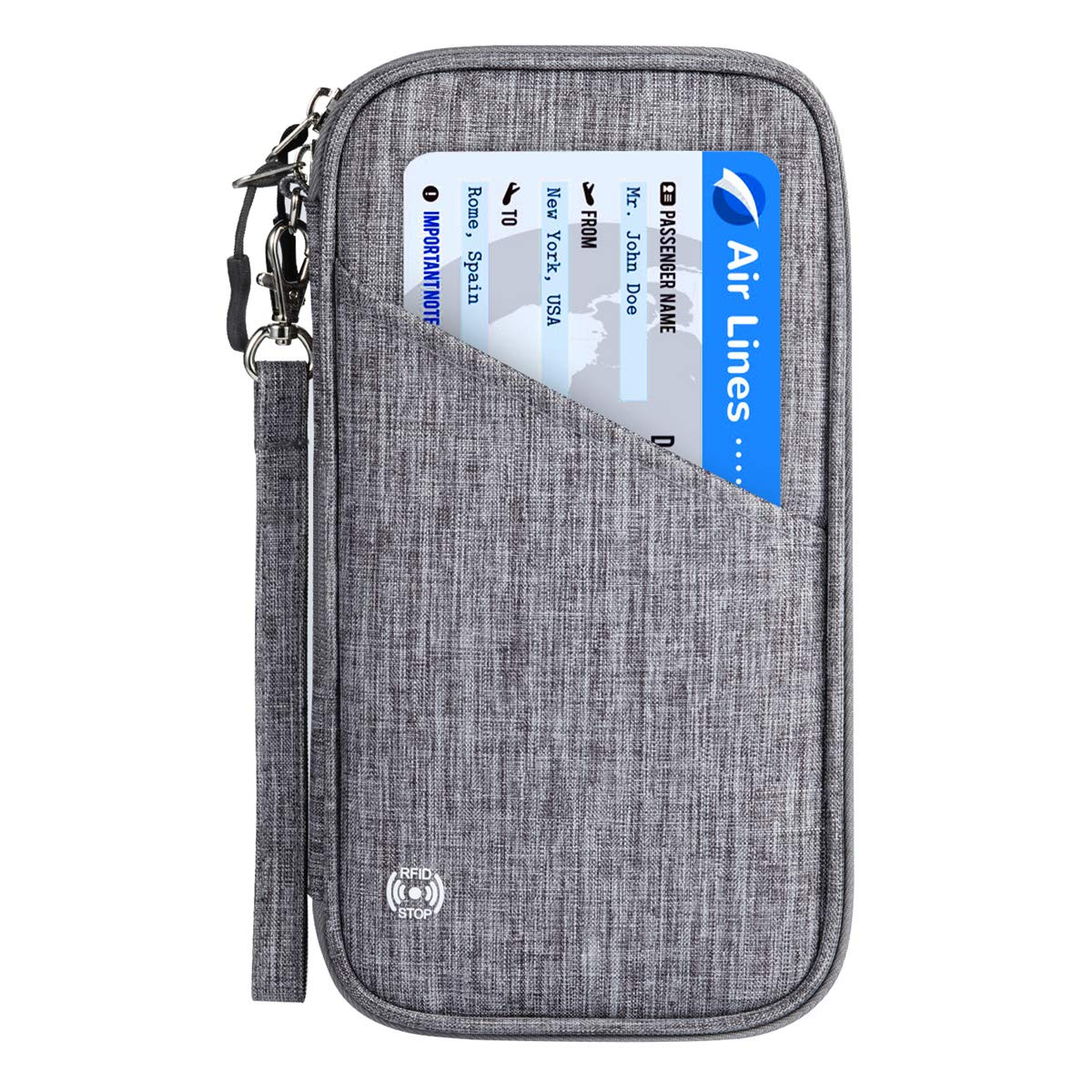 Vemingo Family Passport Holder with Accordion Design RFID - Blocking Travel Wallet Ticket Holder Document Organizer with Zipper for Women & Men, Fits 4 Passports (Grey, Large)
