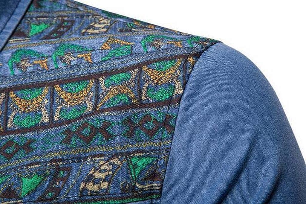 MMCP Mens Embroidery Slim Button Up Cotton Long Sleeve Denim Dress Shirts
