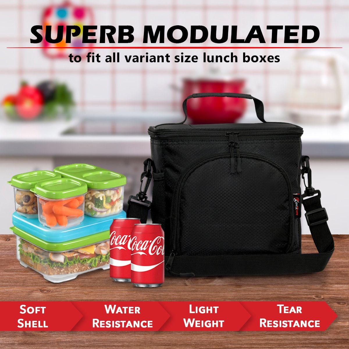 Pwrxtreme Insulated Lunch Bag with 2 Way Zipper