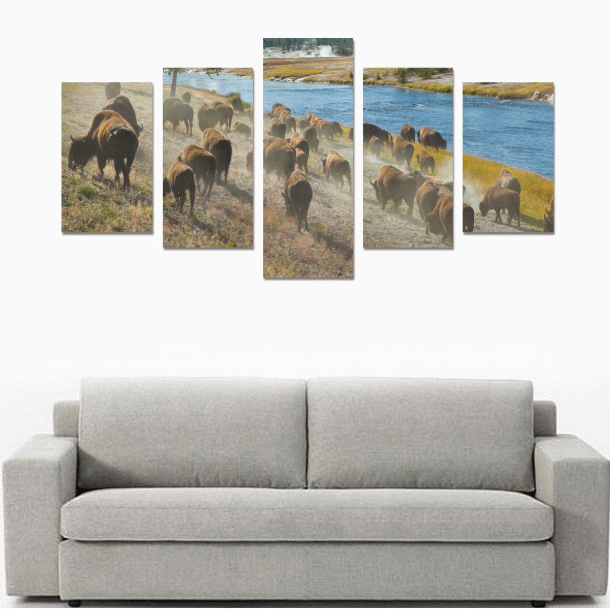 イエローストーン国立公園印刷5ピース壁アートペイントプリントキャンバスホーム装飾リビングルームキッチンの装飾( 12 x 20inch 2個、12 x 23inch 2個、12 x 31inch 1pc )   B0788R3SNL
