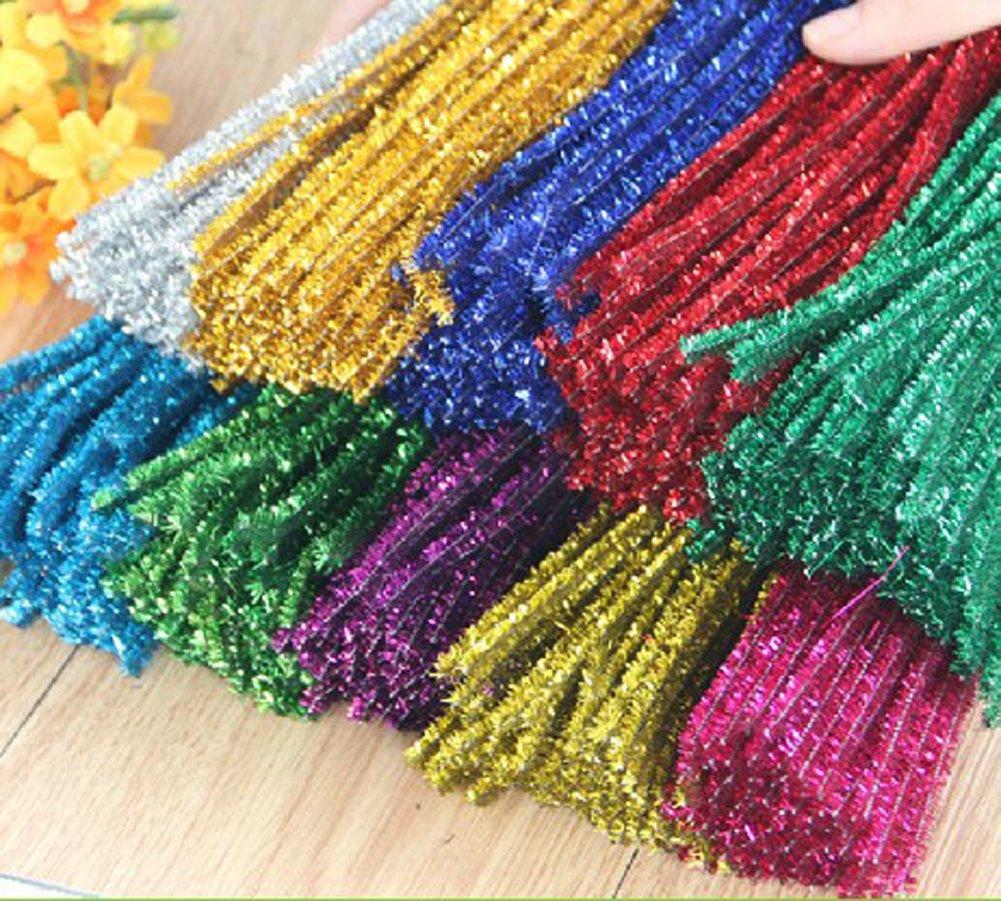 Rimobul Glitter Creative Arts Chenille Stem Class Pack,6 mm x 12 Inch, Pack of 100 (Mix)