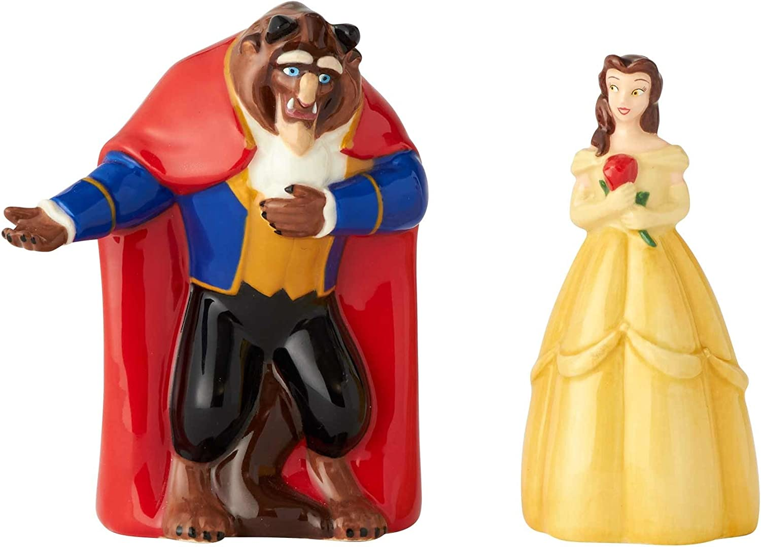 "Enesco Disney Ceramics""美女と野獣"" Belle Salt and Pepper Shakers、3.5インチ、マルチカラー"