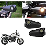 Vheelocityin Bike Hand Guard Motorycle Hand Protector with Bright Light Black for Honda Cb Hornet 160R