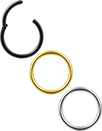 Hinged Hoop Earring Ring Clicker Septum Body Lip Ear Piercing 18G CZ Cartilage