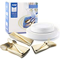 N9R 125-Pieces Disposable Dinnerware Combo Set