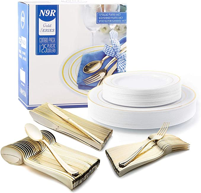 125 Pieces Gold Trim Plastic Plates with Gold Plastic Silverware - Disposable Dinnerware Combo Set - 25 Guests Tableware Set include 25 Dinner Plates,25 Salad Plates,25 Forks,25 Knives,25 Spoons