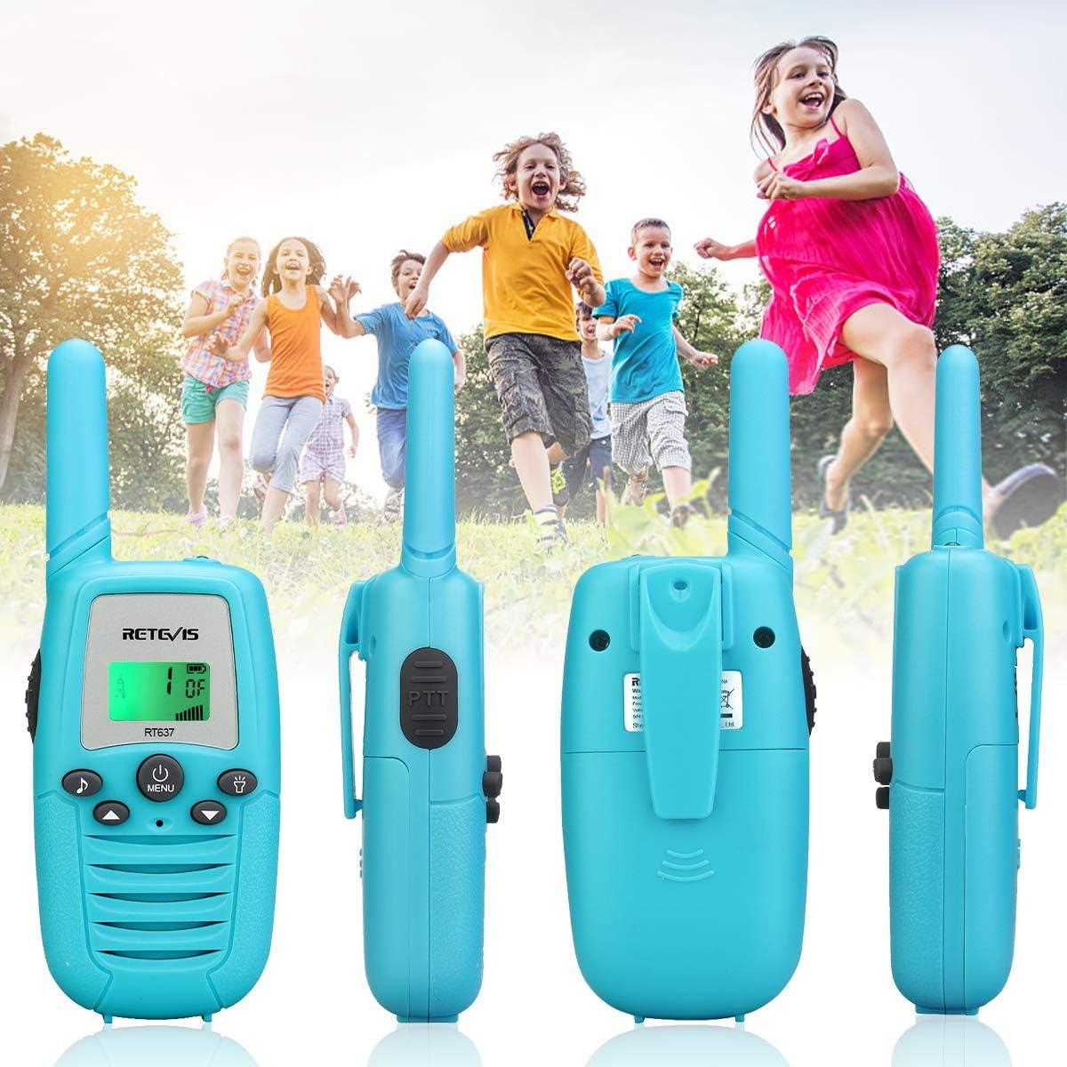 Blue,1 Pair Retevis RT637 Kids Walkie Talkies PMR446 16 Channel Flashlight VOX Walkie Talkie for Kids Easy Operation Toy Gift for Kids Children Walkie Talkies