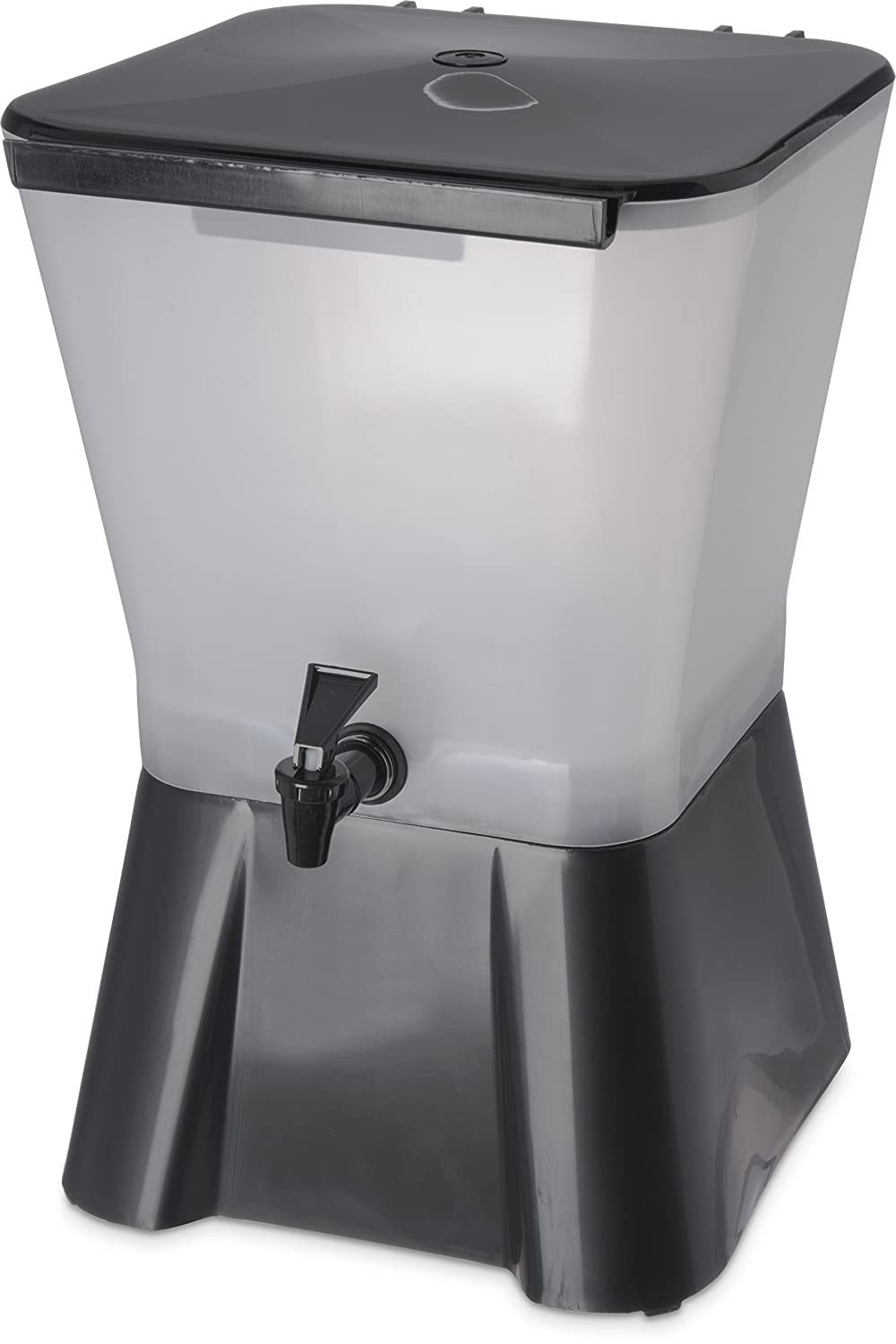Carlisle 1082003 Polypropylene Square Beverage Dispenser with Base, 3 gal. Capacity, 17