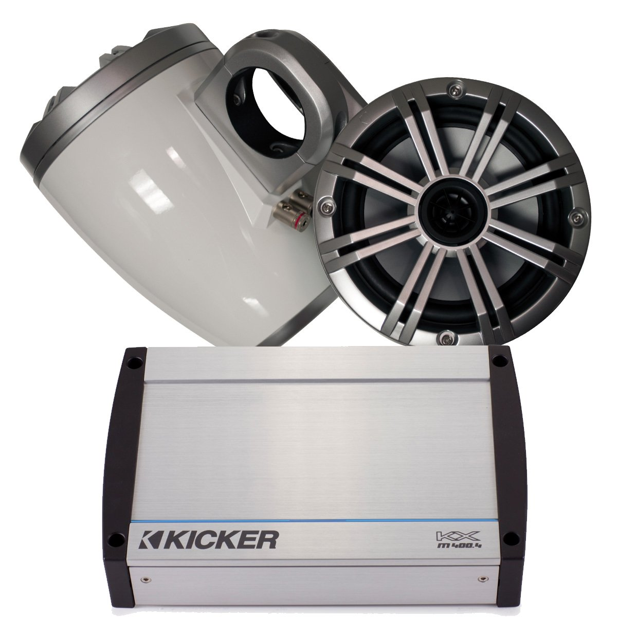 Kicker Marine WakeタワーシステムW /シルバー6.5スピーカー、キッカー40 kxm400.4 400ワットアンプ B01MR9TNLV