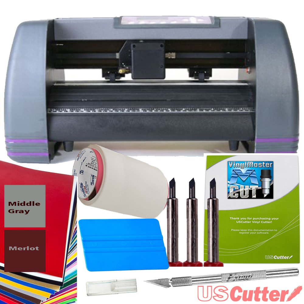 "Greenstar 14"" Craft Vinyl Cutter USCutter MH Bundle - Sign Making Kit w/Design & Cut Software, Supplies Tools"