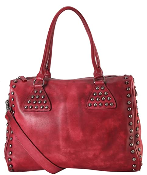 49bf77a9f6ef Amazon.com: Diophy Genuine Leather Studded Décor Design Large Tote ...
