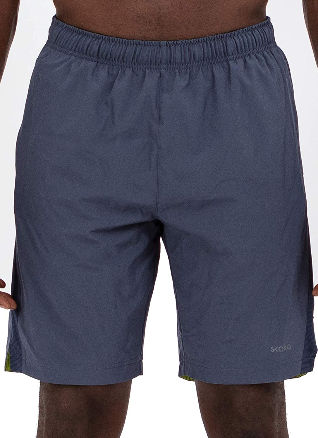 Skora Mens Active Shorts Quick Dry Woven Stretch Athletic Running Performance 9 Inch Inseam with Pockets and Zip Back Pocket