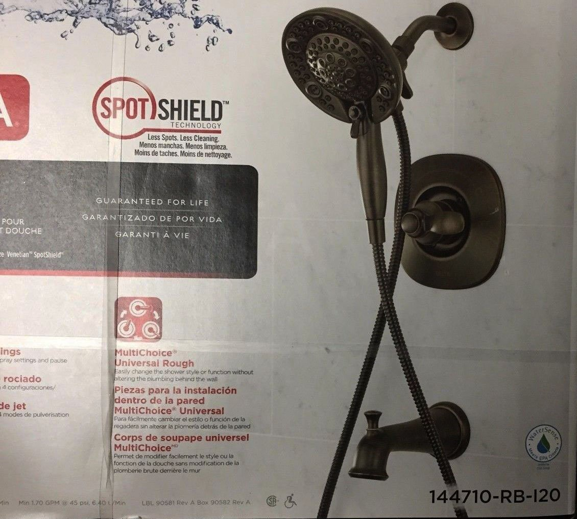 Delta Nura Venetian Bronze 1-Handle Bathtub and Shower Faucet with Multi-Function Showerhead -Item # 779301 Model # 144710-RB-I20 UPC# 034449830775 by Shower faucet