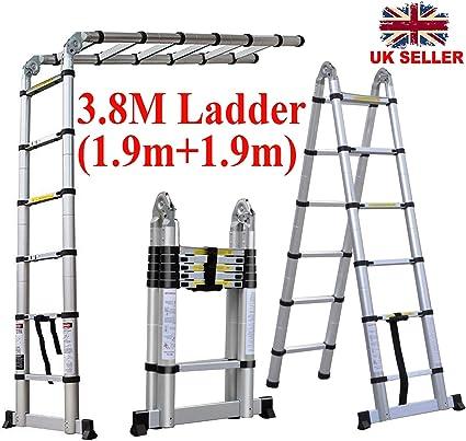 Escalera telescópica plegable, 3,8 m, carga máxima de alta calidad, peso ligero, multiusos, aluminio, escalera en forma de A extensible con EN131 y estándar CE: Amazon.es: Bricolaje y herramientas