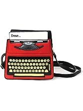 Vintage Typewriter Screen Print Vinyl Satchel Bag