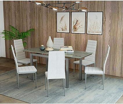 Mobilier Deco Table A Manger En Verre Avec 2 Rallonges Extensible 6 Chaises Blanche Born Amazon Fr Cuisine Maison