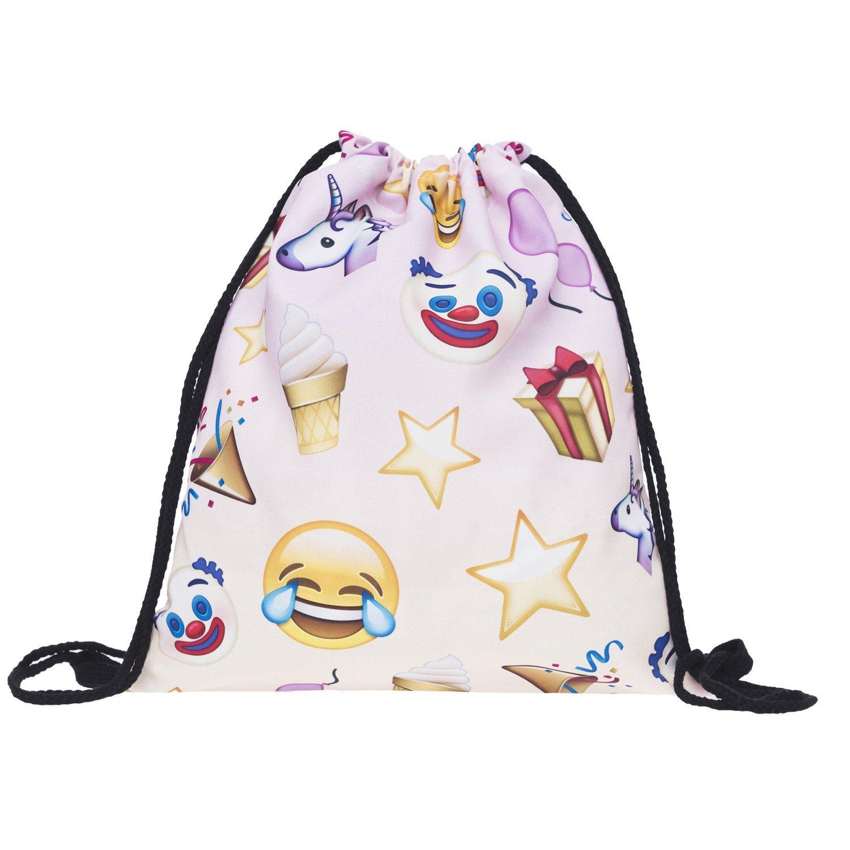 Aigemi Unicorn Print Drawstring Gym Sport Bag, Large Lightweight Gym Sackpack Backpack School Rucksack (Style - 003)