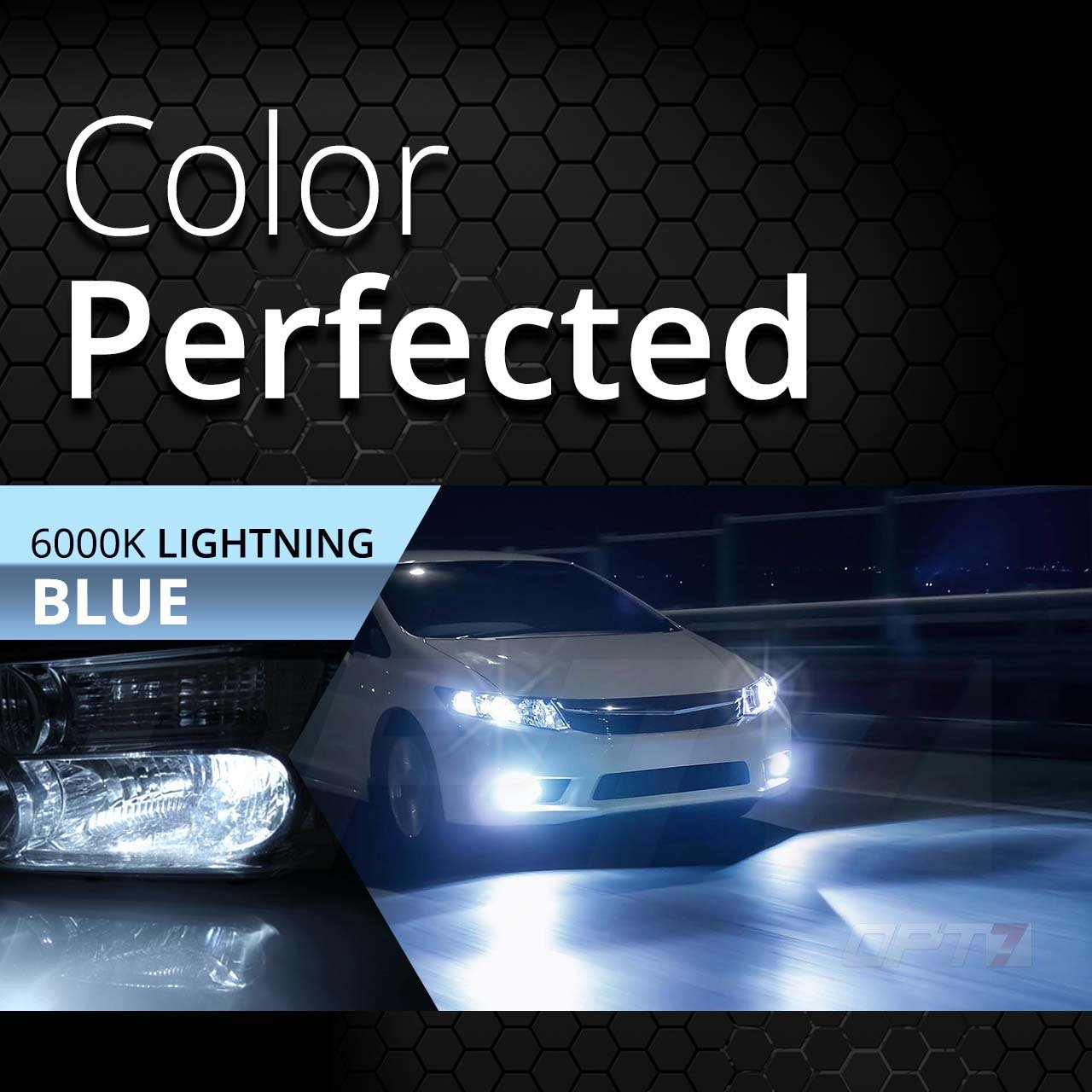 10000K Deep Blue Xenon Light All Bulb Colors and Sizes 4X Longer Life 2 Yr Warranty 5X Brighter OPT7 Blitz 55W H11 H8 H9 HID Kit