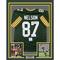 $464 » Framed Autographed/Signed Jordy Nelson 33x42 Green Bay Green Football Jersey JSA COA