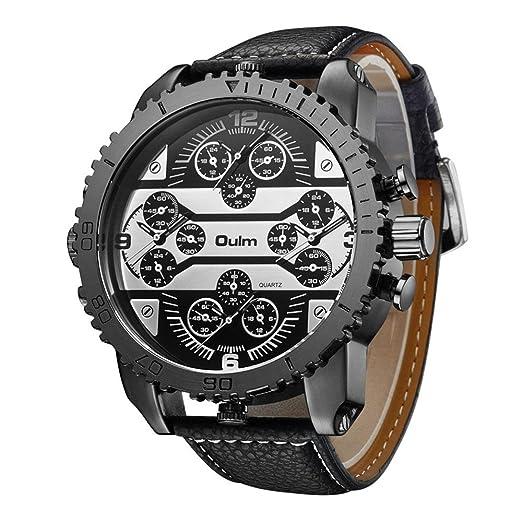 OULM 3233 Aviator - Reloj analógico para hombre, cuarzo japonés, piel sintética, con caja de reloj, color negro: Amazon.es: Relojes