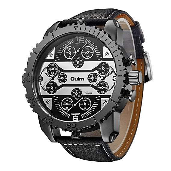 OULM 3233 Aviator - Reloj analógico para hombre, cuarzo japonés, piel sintética, con
