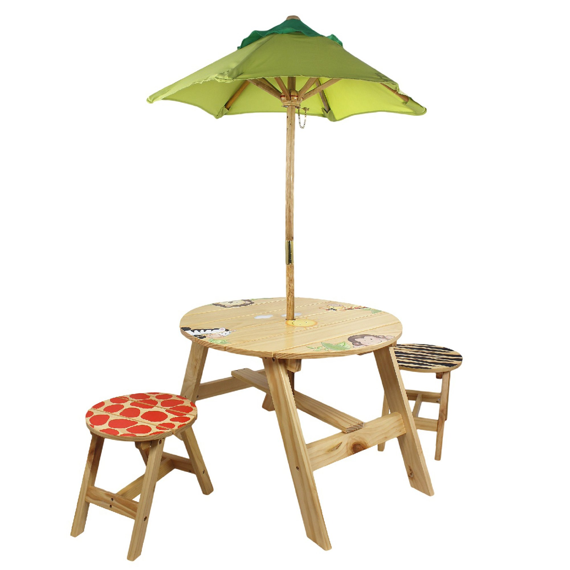 Fantasy Fields - Sunny Safari Animals Thematic Kids Wooden Outdoor Table and 2 Chairs Set |Imagination Inspiring Hand Crafted & Hand Painted Details   Non-Toxic, Lead Free Water-based Paint