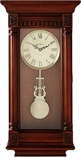 Howard Miller Lewisburg Wall Clock 625-474 Tuscany Cherry with Quartz, Triple-Chime Movement