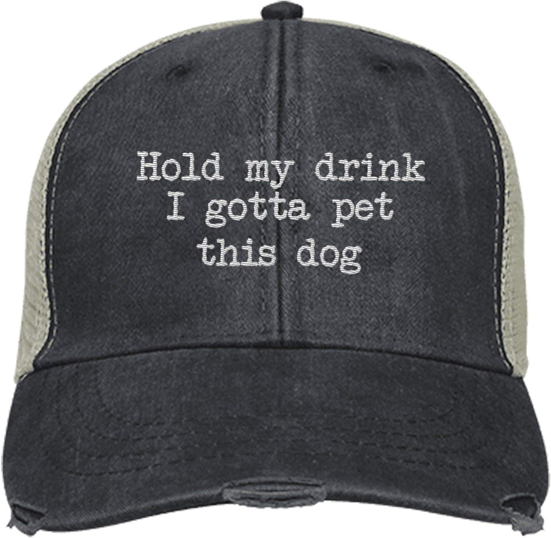 PIRDA Hold My Drink I Gotta PET This Dog HAT Trucker Cap Men Women HAT Royal Black Navy Coral HAT