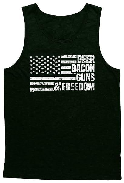 a3dfcccc88ab8d Amazon.com  Blittzen Mens Tank Top Beer Bacon Guns   Freedom  Clothing