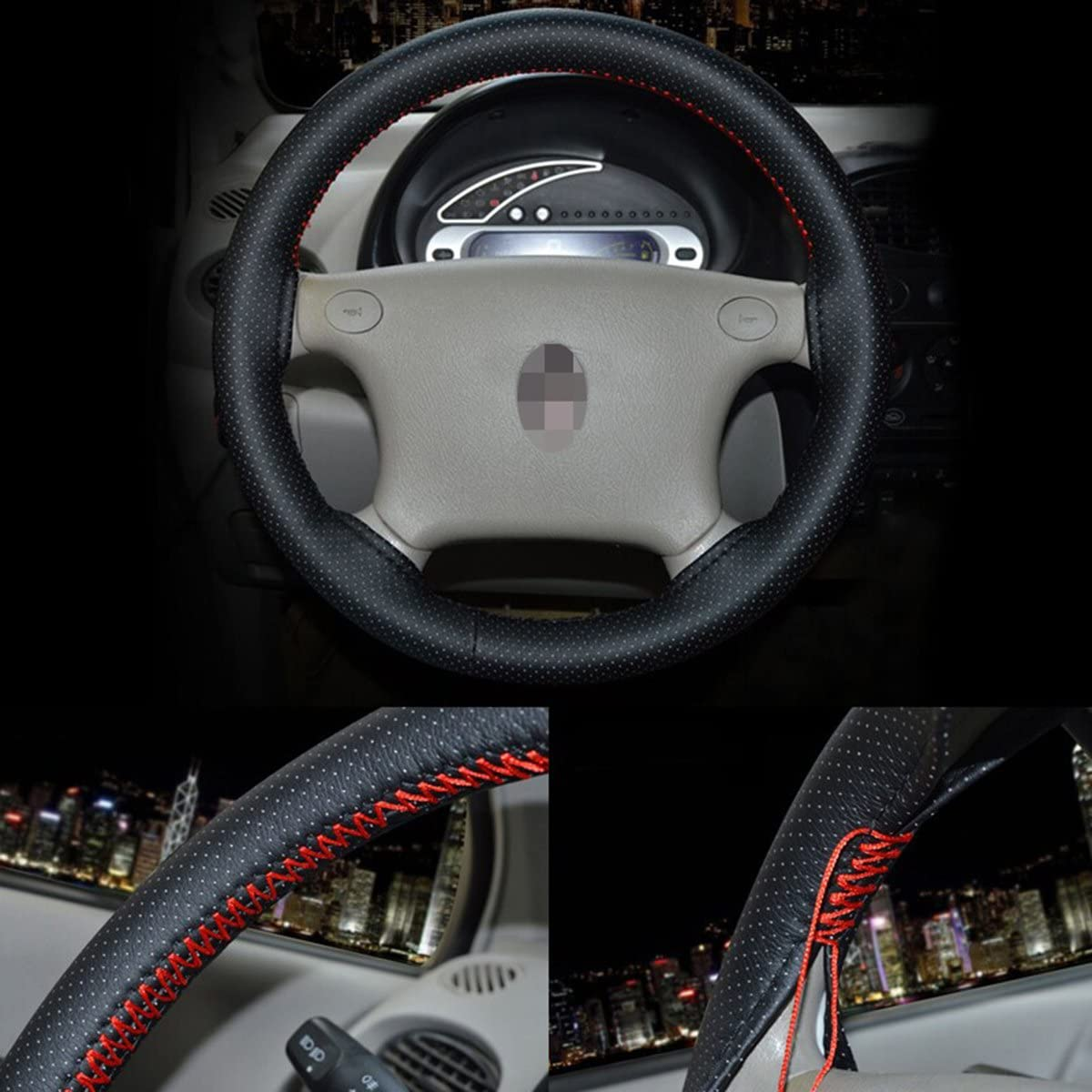 SZSS-CAR Universal Microfiber Leather Auto Car Steering Wheel Cover Anti Slip 15 Stitch on Wrap Cover with Needle Thread for Audi VW BMW. Gray