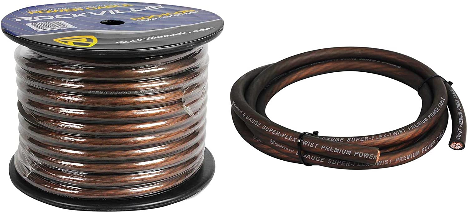 Rockville R0G100 BLACK 0 Gauge 100 Foot Spool Car Amp Power//Ground Wire Cable