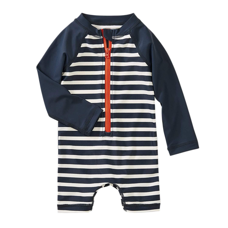 Tea Collection Outrigger Striped Rashguard One Piece Swimwear, Boys 3T, Indigo by Tea Collection