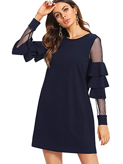 c32d1f0cf88 DIDK Femme Robe Courte Manche Cloche À Étages en Tulle Sortie Chic   Amazon.fr  Vêtements et accessoires