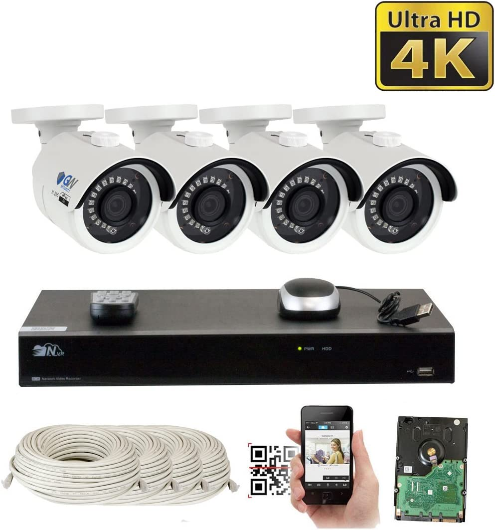 GW 8 Channel H.265 PoE NVR Ultra-HD 4K 3840×2160 Security Camera System with 4 x 4K 8MP 2160p IP Camera, 100ft Night Vision, Outdoor Indoor Surveillance Camera