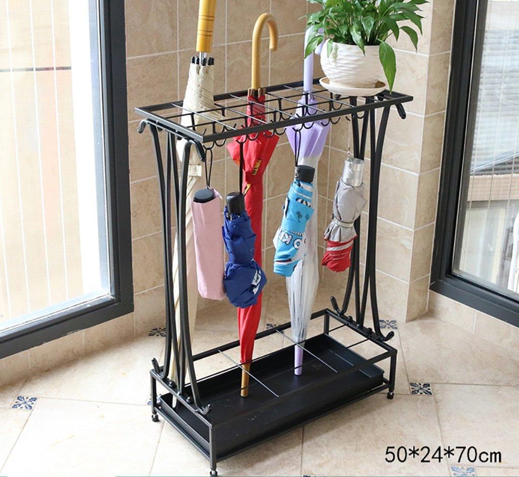 傘の収納 傘のラック鉄のスタイルヨーロッパの家クリエイティブ傘ラック傘バレルストレージバレル傘ホテルのロビー 貯蔵傘 (色 : Black, サイズ さいず : 50*24*70cm) B07F41P5MLBlack 50*24*70cm