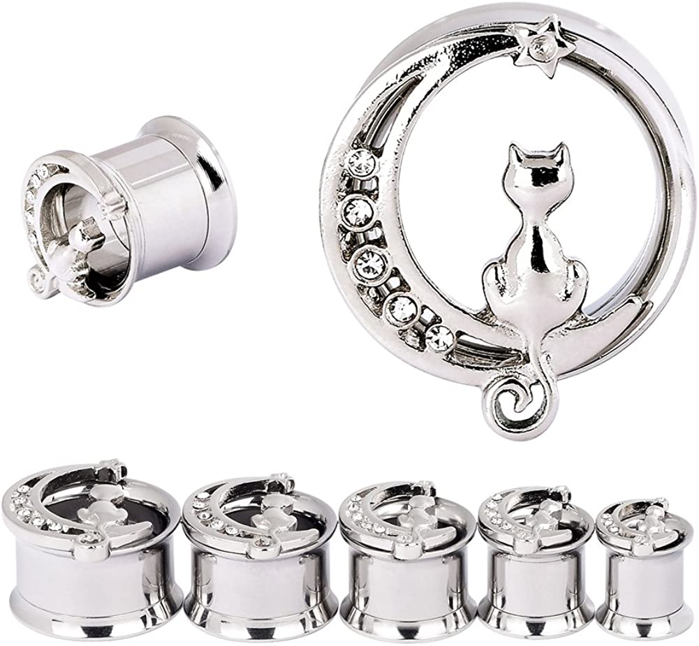 YOFANST Stainless Steel Black Silver Cat on The Moon Ear Expander Piercing Tunnels Gauge 0g-16mm