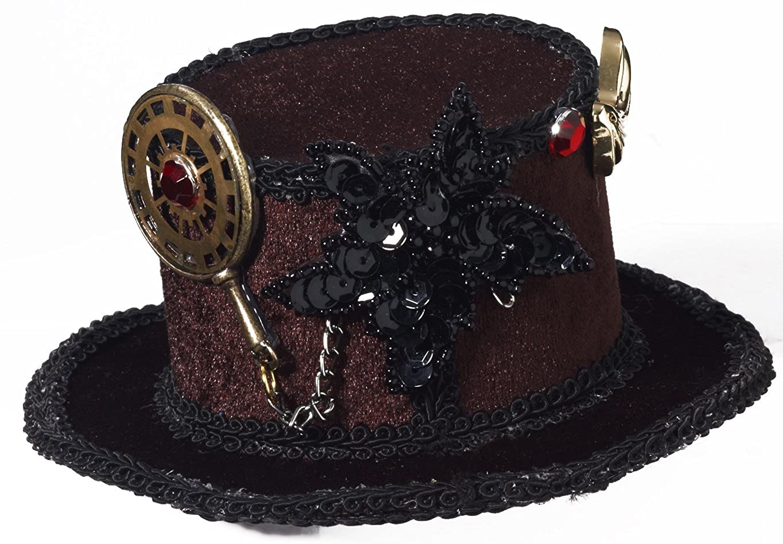 68ba18cc715e5 Amazon.com  Forum Novelties Women s Steampunk Victorian Mini Top Hat  Costume Accessory