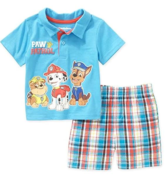 239da7012 Amazon.com  Nickelodeon Paw Patrol Baby Boys Polo T-Shirt and Plaid ...