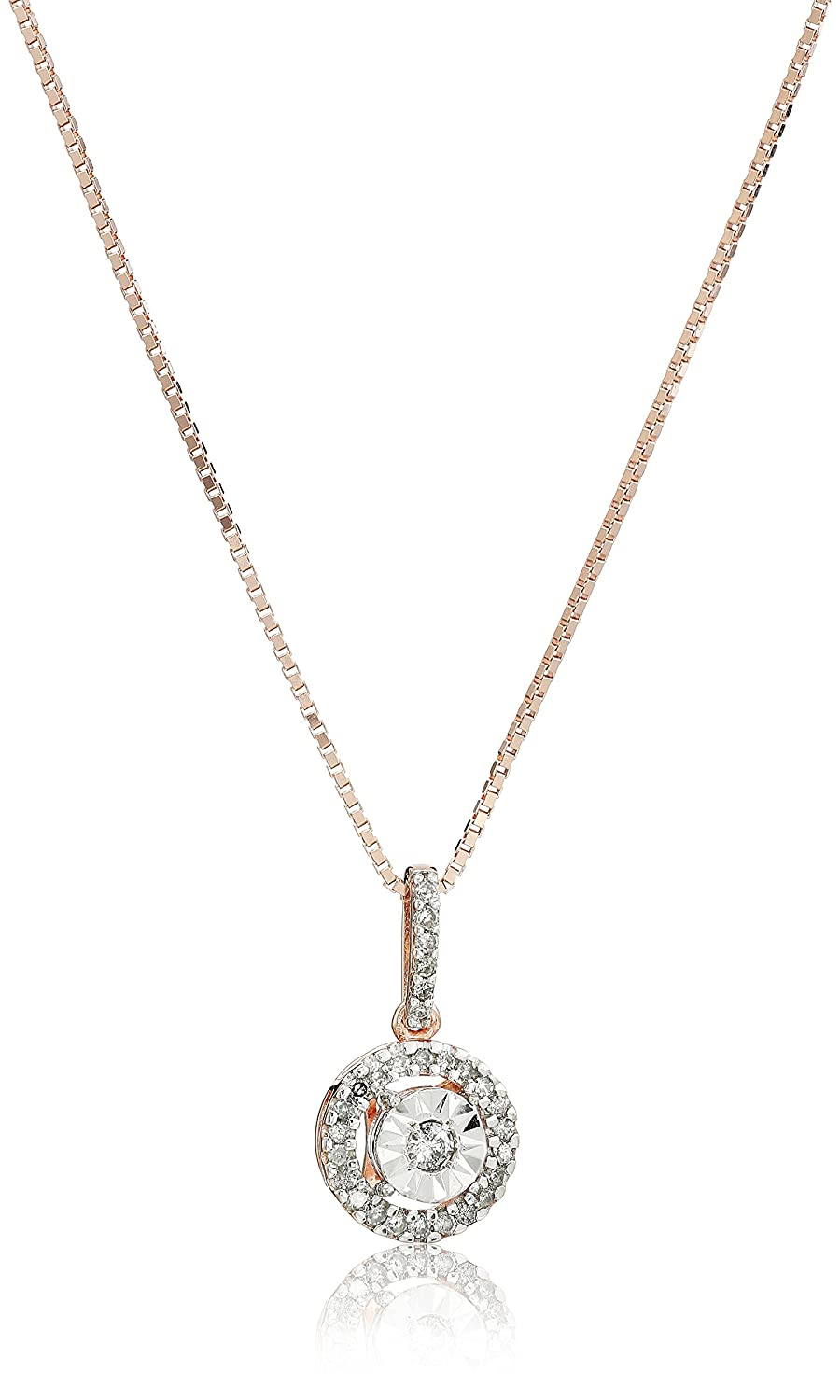 18k Rose Gold Over Sterling Silver Diamond Miracle Plate Pendant Necklace (1/5cttw, I-J Color, I2-I3 Clarity), 18""